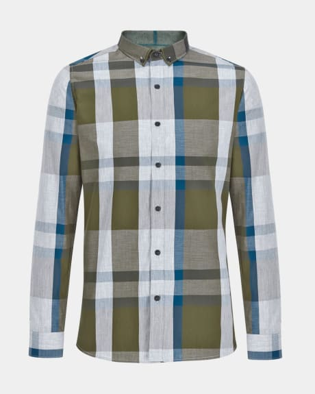 Tailored fit green check shirt