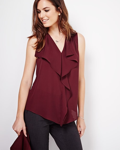 Silky crepe blouse with ruffles