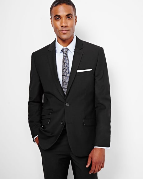 Tailored fit wool-blend black blazer - Short