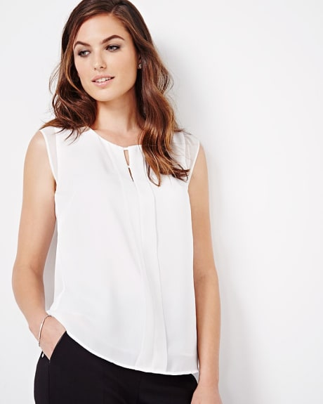 Split neck sleeveless crepe blouse