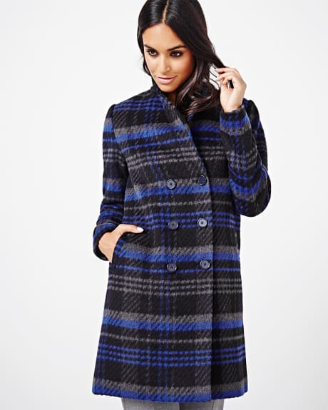 Plaid double-breasted coat
