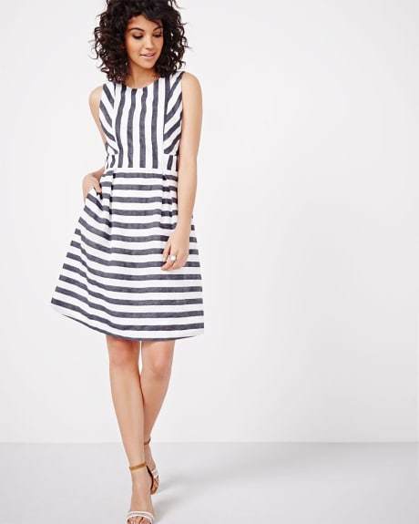 Striped Linen Blend Fit and Flare Dress