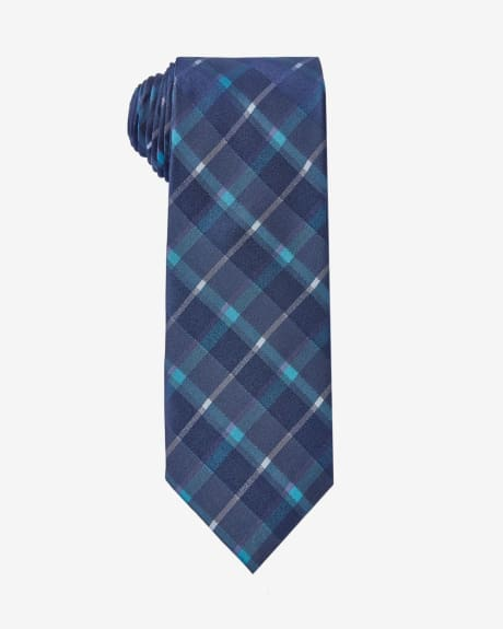 Wide tie in iridescent teal check