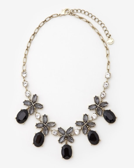 Black glass statement necklace