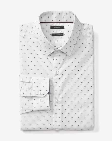 Slim fit dress shirt with bicoloured embroidery