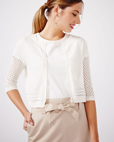 Cropped open-stitch cardigan