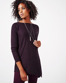 Ribbed asymmetrical tunic sweater