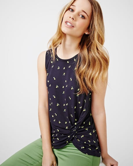 Sleeveless Printed T-Shirt with Knot