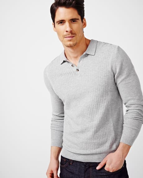 Textured Polo Sweater