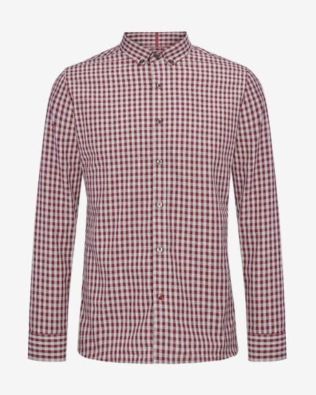 Burgundy gingham Tailored fit shirt