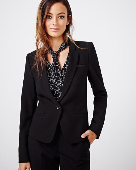 Slim stretch blazer with faux leather