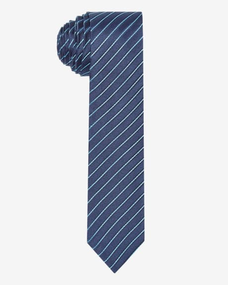 Skinny teal thin stripe tie.Mosaic blue.1SIZE