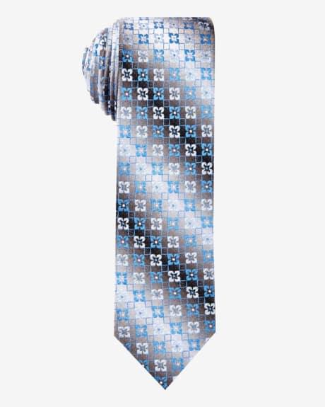 Skinny Floral Tie.Oxford blue.1SIZE