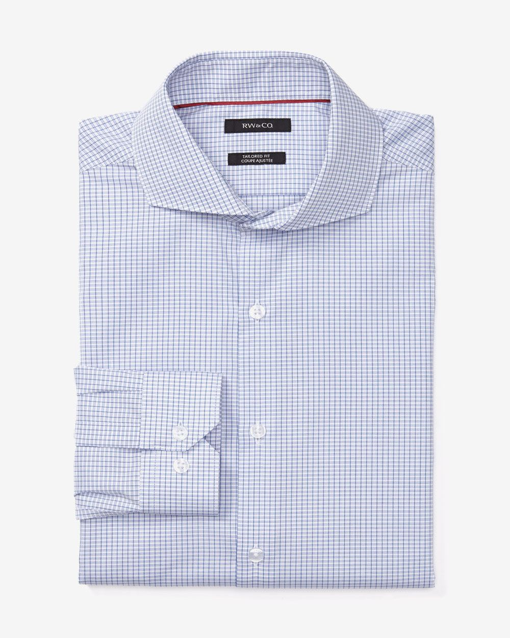 Tailored fit fine check dress shirt rw co for Tailoring a dress shirt