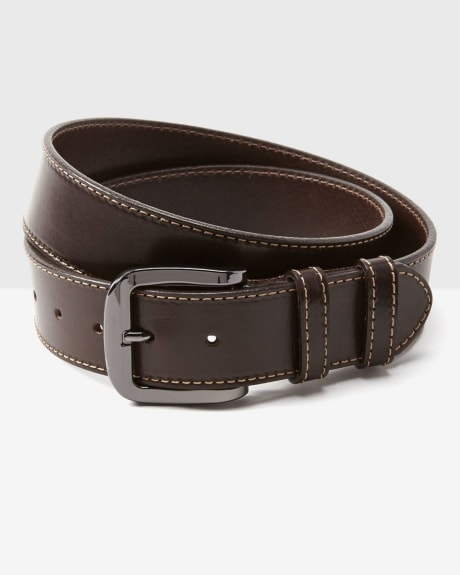 Men's Leather Belt with Cover Stitch