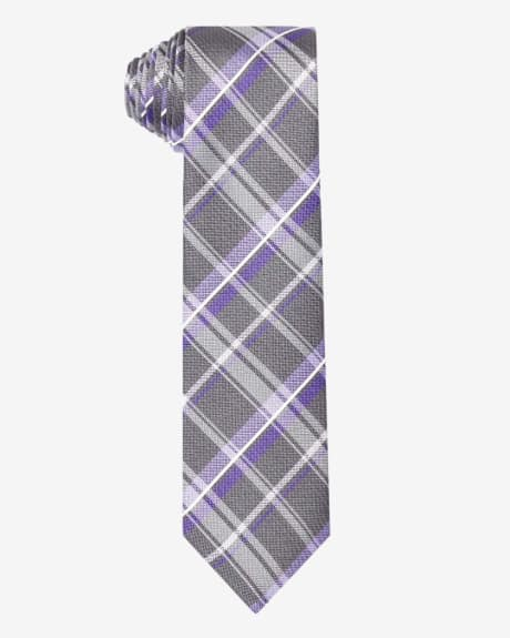Regular grey and purple check tie