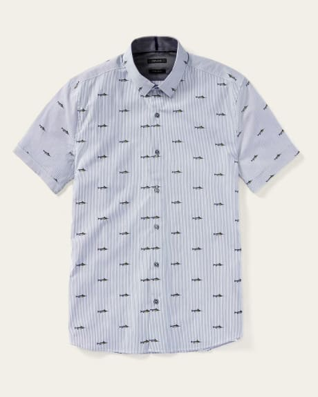 Slim fit short sleeve shirt with stripes and fish print