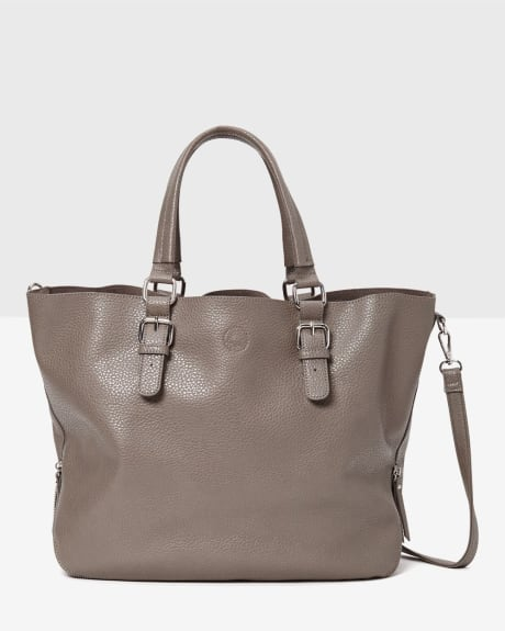 Vegan leather tote bag with inside patch