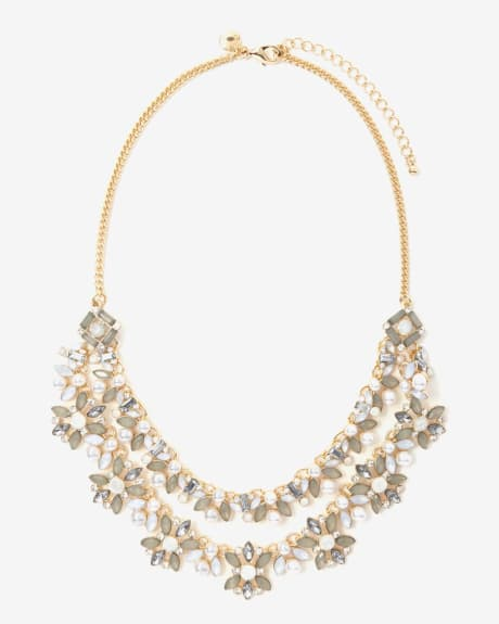 Crystals and pearls statment necklace