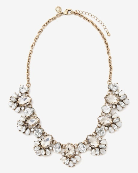 Clear glass statement necklace