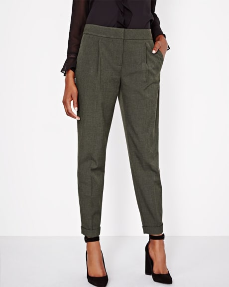 Two-tone Everyday Stretch Pleated Ankle Length Pant