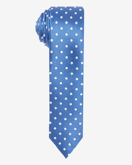 Skinny Light Blue Tie With Dots