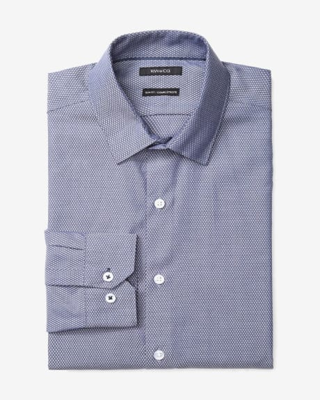 Slim fit jacquard lozenge dress shirt