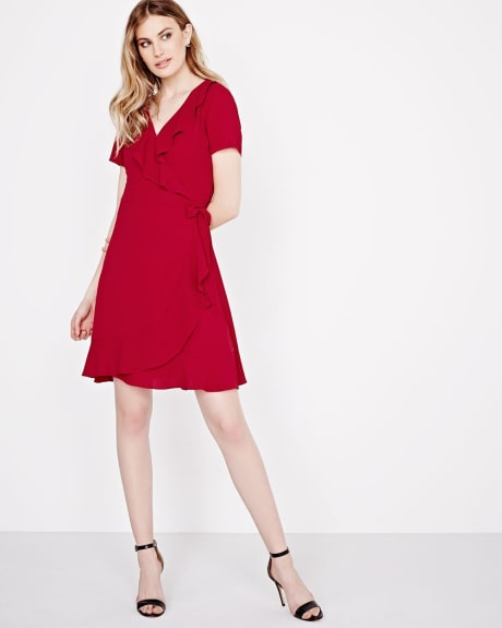 Short sleeve crepe wrap dress