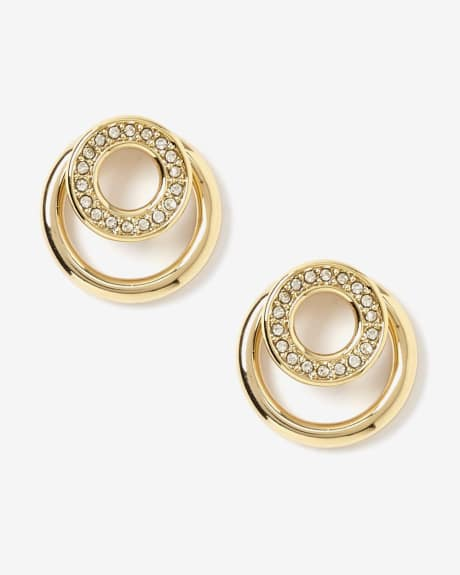 Circle stud earrings with crystals