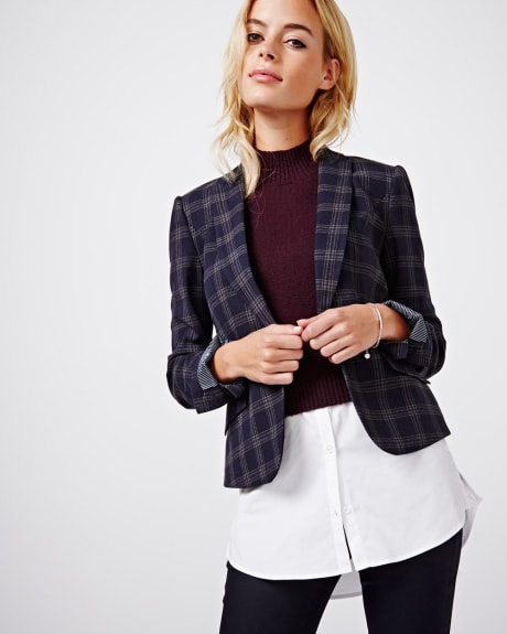 Brushed plaid everyday stretch blazer