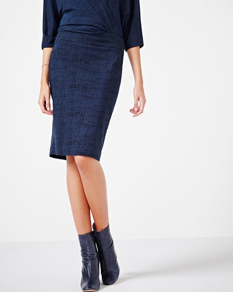 Modern stretch jacquard line pencil skirt