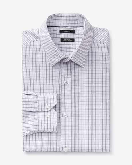 Athletic fit micro windowpane dress shirt