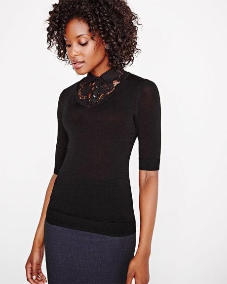 Short sleeve sweater with woven collar and lace