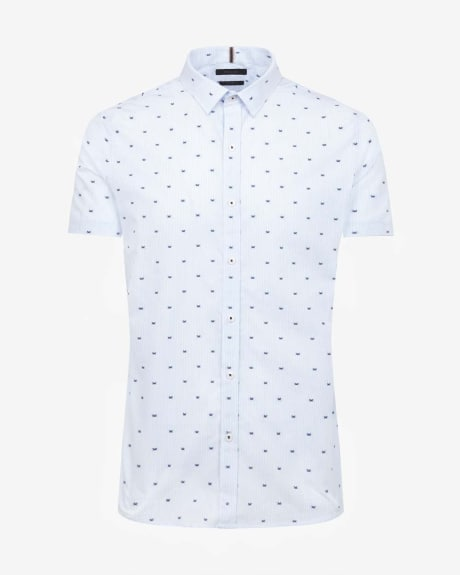 Tailored embroidered crab short sleeve shirt