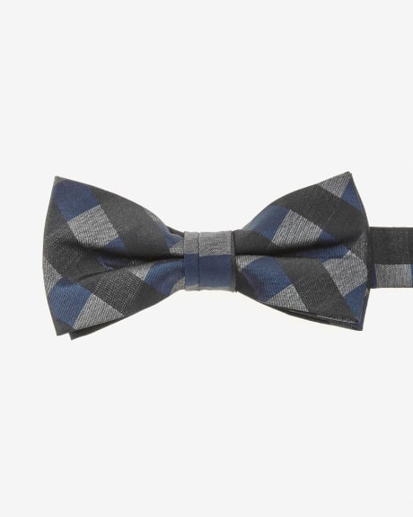 Classic blue and grey check bow tie