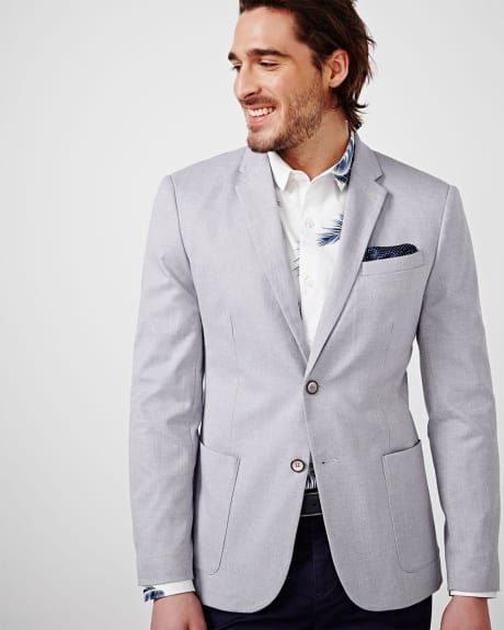 Two Tone Cotton-Blend Slim Fit Blazer