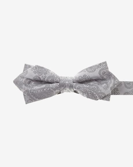 Pointy Silver Paisley Bow Tie