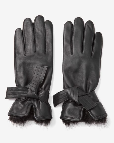 Faux fur and leather gloves
