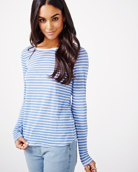 Striped Long Sleeve linen T-Shirt