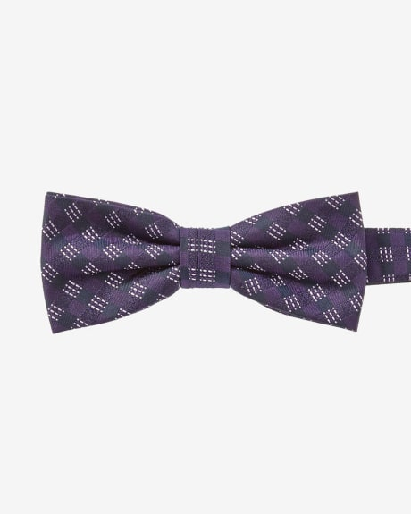 Classic blue and purple check bow tie