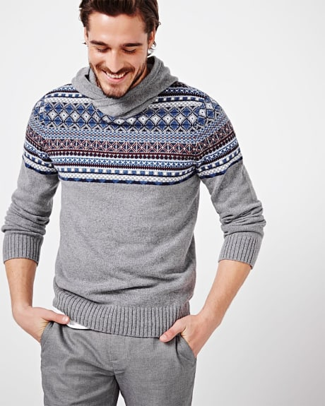 Fair isle hooded sweater