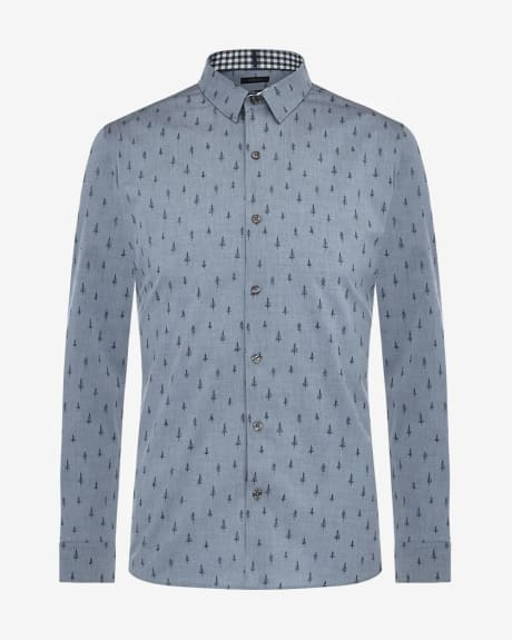 Tailored fit tree print shirt