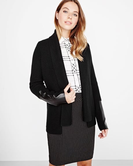 Ribbed cardigan with pleather details