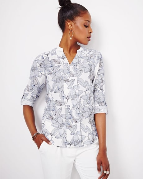 Printed Blouse With Roll-up Sleeve