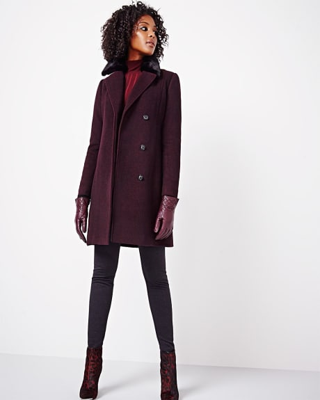 Wool-blend Overcoat with faux fur