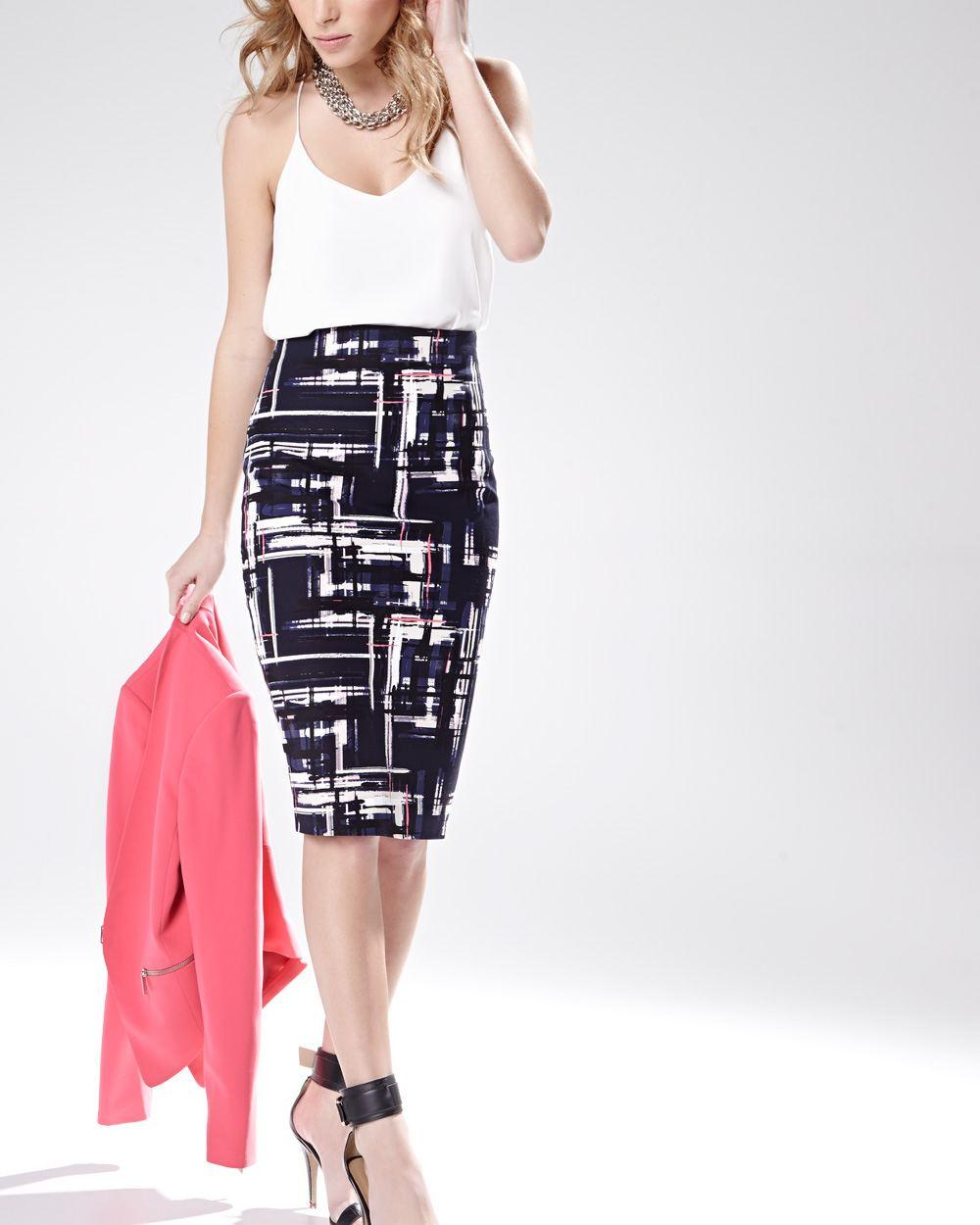 high waisted printed skirt 25 length rw co