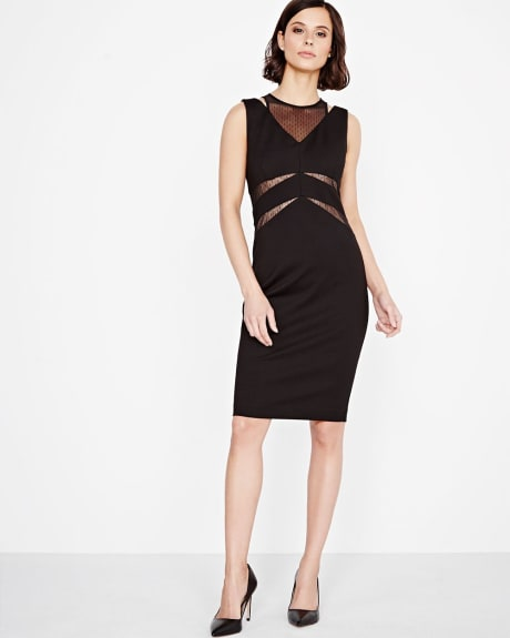 Bodycon Dress with Mesh Lace Inserts