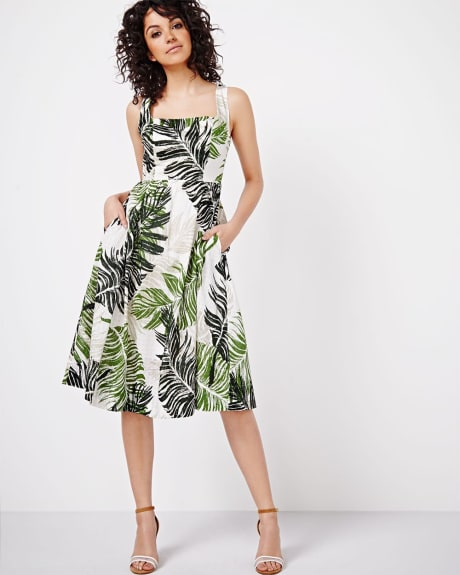Leaf Print Fit and Flare Dress with Square Neckline by Sangria