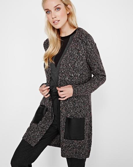 Nep Yarn Open Cardigan with Faux Leather pockets