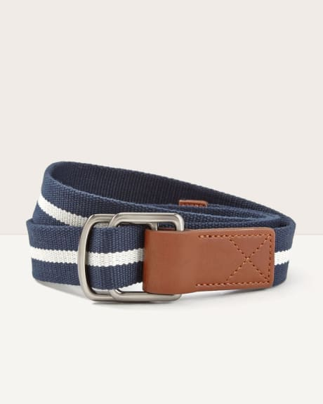 Reversible leather-like webbed belt